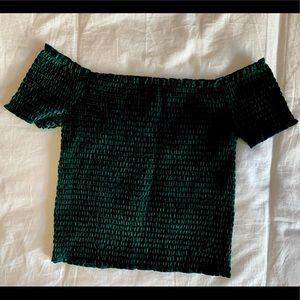 Beautiful Velvet Green Ruched Crop Top